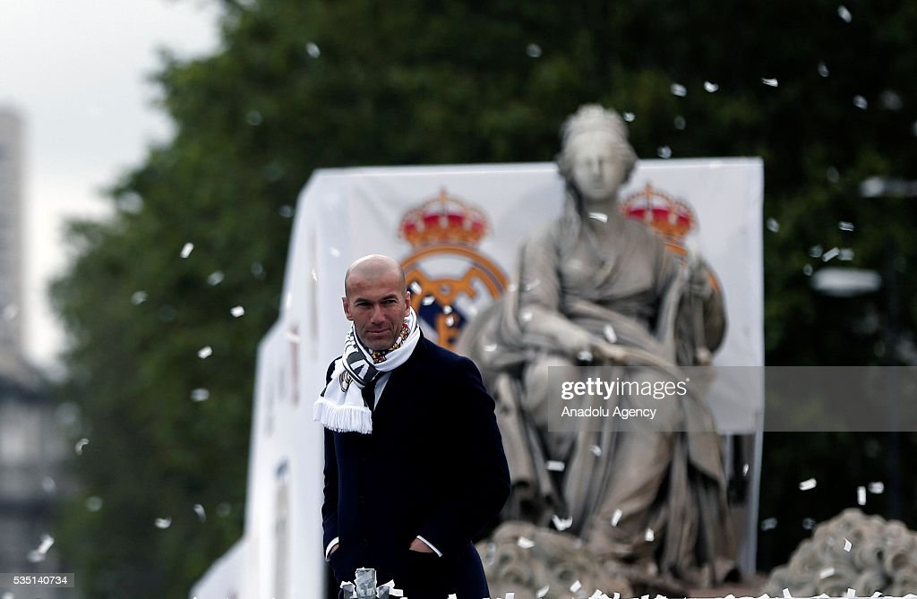 Head coach of Real Madrid Zinedine Zidane attends the celebration at Cibeles square after winning the UEFA Champions League Final match against Club Atletico de Madrid on May 29, 2016 in Madrid, Spain.