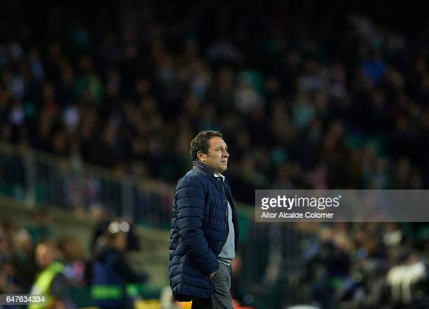 Head Coach of Real Sociedad Eusebio Sacristan looks on during La Liga match between Real Betis Balompie and Real Sociedad de Futbol at Benito...