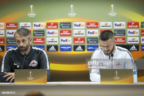 Head coach of Red Bull Salzburg Marco Rose and Valon Berisha of Red Bull Salzburg hold a press conference ahead of the UEFA Europa League Group I...
