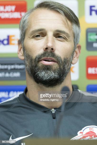Head coach of Red Bull Salzburg Marco Rose holds a press conference ahead of the UEFA Europa League Group I soccer match between Atiker Konyaspor and...