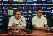 Head Coach of Rijeka Matjaz Kek and footballer Roman Bezjak attend a press conference prior to UEFA Champions League third preliminary lap match...