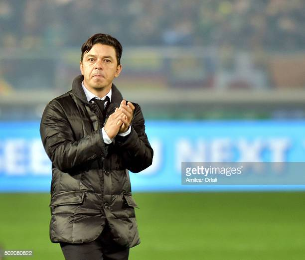 Head coach of River Plate Marcelo Gallardo claps his hands after losing the FIFA Club World Cup final match between River Plate and FC Barcelona at...