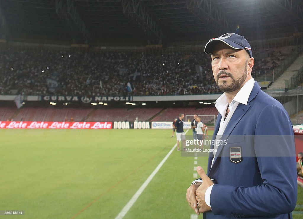 Head coach of Sampdoria <a gi-track='captionPersonalityLinkClicked' href=/galleries/search?phrase=Walter+Zenga&family=editorial&specificpeople=891748 ng-click='$event.stopPropagation()'>Walter Zenga</a> looks on during the Serie A match between SSC Napoli and UC Sampdoria at Stadio San Paolo on August 30, 2015 in Naples, Italy.