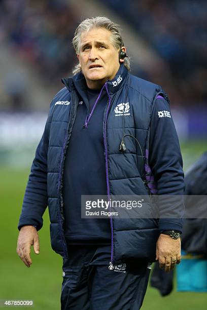 Head Coach of Scotland Scott Johnson looks on during the RBS Six Nations match between Scotland and England at Murrayfield Stadium on February 8 2014...