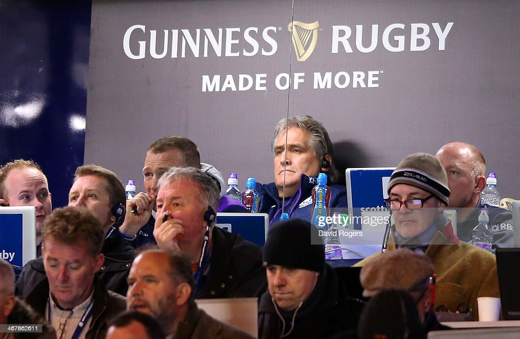 Head Coach of Scotland, <a gi-track='captionPersonalityLinkClicked' href=/galleries/search?phrase=Scott+Johnson&family=editorial&specificpeople=586938 ng-click='$event.stopPropagation()'>Scott Johnson</a> (C) looks on during the RBS Six Nations match between Scotland and England at Murrayfield Stadium on February 8, 2014 in Edinburgh, Scotland.