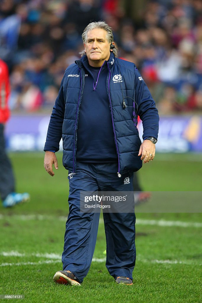 Head Coach of Scotland, <a gi-track='captionPersonalityLinkClicked' href=/galleries/search?phrase=Scott+Johnson&family=editorial&specificpeople=586938 ng-click='$event.stopPropagation()'>Scott Johnson</a> looks on during the RBS Six Nations match between Scotland and England at Murrayfield Stadium on February 8, 2014 in Edinburgh, Scotland.