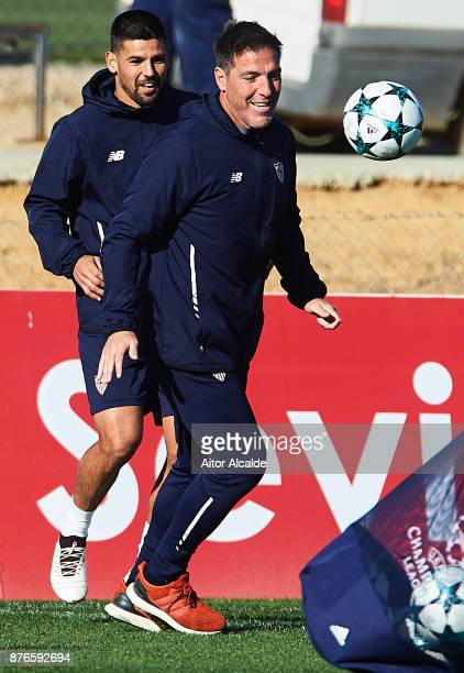 Head Coach of Sevilla FC Eduardo Berizzo and Manuel Agudo 'Nolito' of Sevilla FC during the training of Sevilla FC prior to their Champions League...