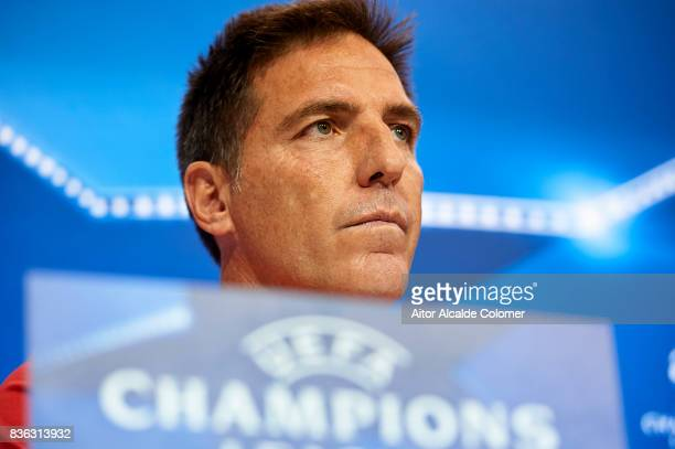 Head Coach of Sevilla FC Eduardo Berizzo attends the press conference prior to their UEFA Champions League match against Istambul Basaksheir at the...