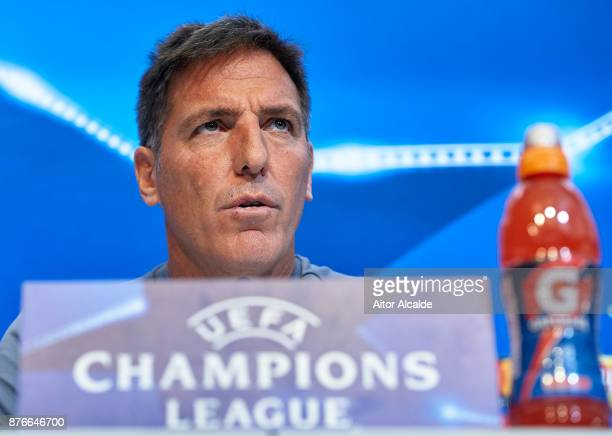 Head Coach of Sevilla FC Eduardo Berizzo attends the press conference prior to their Champions League match against Liverpool FC at the Sevilla FC...