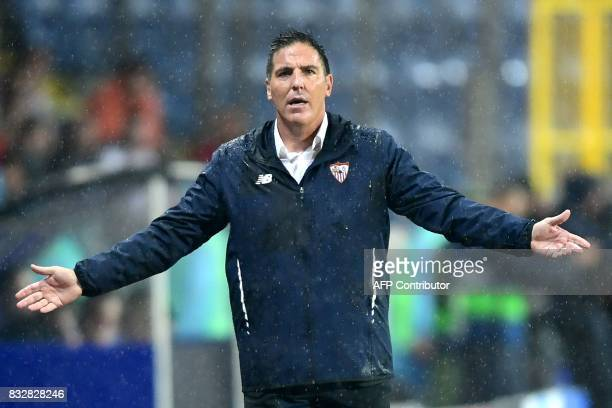 Head Coach of Sevilla FC Eduardo Berizzo gestures to his players during the UEFA Champions League playoff first leg football match between Istanbul...