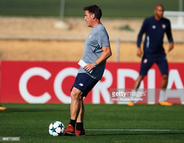 Head Coach of Sevilla FC Eduardo Berizzo in action during the Training Session of Sevilla FC prior to their UEFA Champions League match between...
