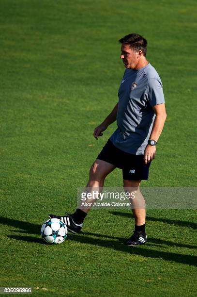 Head Coach of Sevilla FC Eduardo Berizzo in action during the training session prior to their UEFA Champions League match against Istanbul Basaksehir...