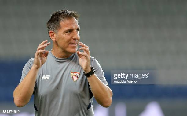 Head coach of Sevilla FC Eduardo Berizzo leads a training session ahead of the UEFA Champions League playoff match between Medipol Basaksehir and...