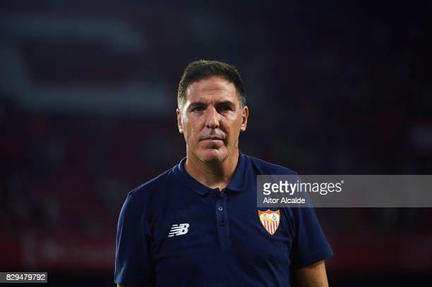 Head Coach of Sevilla FC Eduardo Berizzo looks on during a Pre Season Friendly match between Sevilla FC and AS Roma at Estadio Ramon Sanchez Pizjuan...