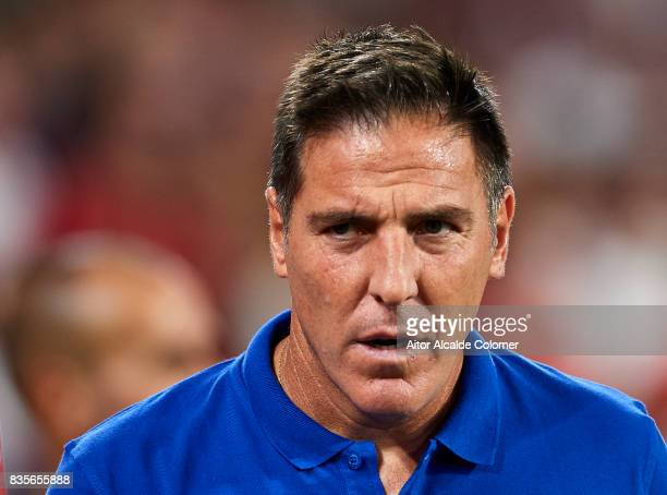 Head Coach of Sevilla FC Eduardo Berizzo looks on during the La Liga match between Sevilla and Espanyol at Estadio Ramon Sanchez Pizjuan on August 19...