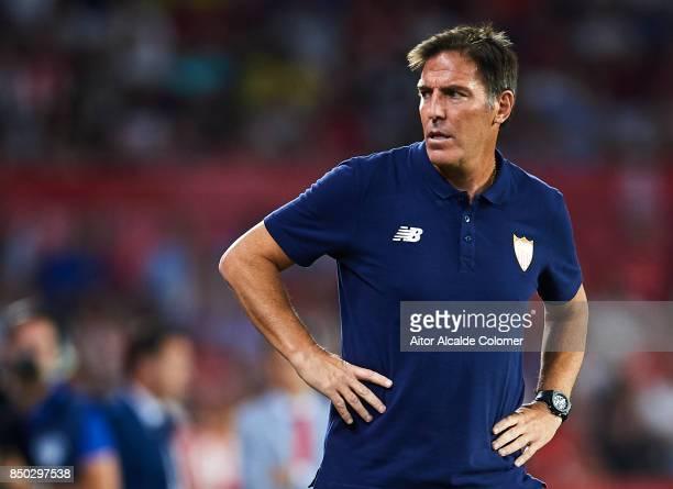 Head Coach of Sevilla FC Eduardo Berizzo looks on during the La Liga match between Sevilla and Las Palmas at Estadio Ramon Sanchez Pizjuan on...