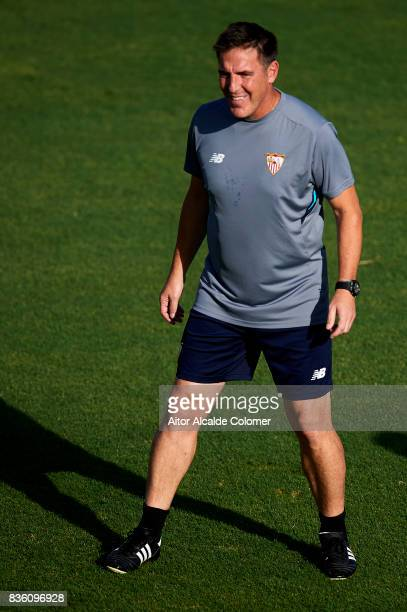 Head Coach of Sevilla FC Eduardo Berizzo looks on during the training session prior to their UEFA Champions League match against Istanbul Basaksehir...