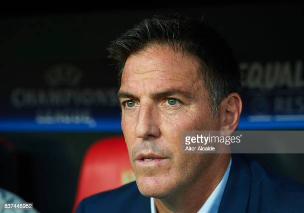Head Coach of Sevilla FC Eduardo Berizzo looks on during the UEFA Champions League Qualifying PlayOffs round second leg match between Sevilla FC and...