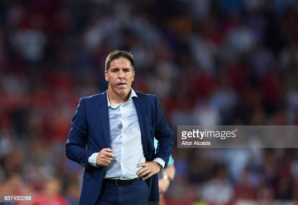 Head Coach of Sevilla FC Eduardo Berizzo of Sevilla FC looks on during the UEFA Champions League Qualifying PlayOffs round second leg match between...
