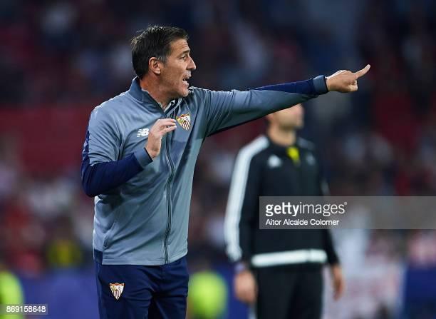 Head Coach of Sevilla FC Eduardo Berizzo reacts during the UEFA Champions League group E match between Sevilla FC and Spartak Moskva at Estadio Ramon...