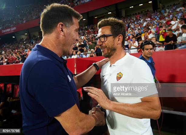 Head Coach of Sevilla FC Eduardo Berizzo shake hands with Head Coach of AS Roma Eusebio Di Francesco during a Pre Season Friendly match between...