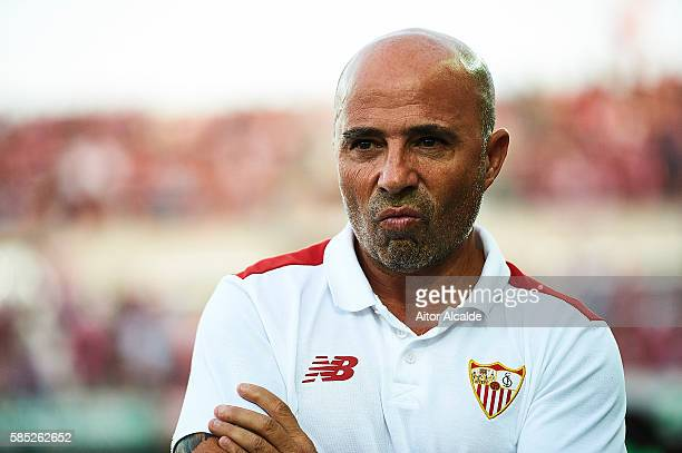 Head Coach of Sevilla FC Jorge Sampaoli looks on during a friendly match between Granada FC and Sevilla FC at Estadio Nuevo los Carmenes on August 2...