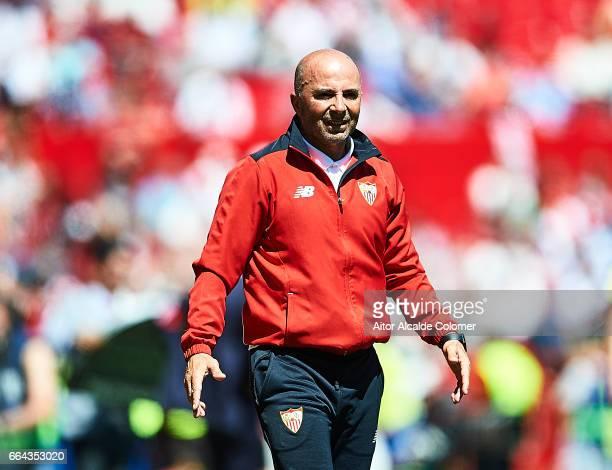 Head Coach of Sevilla FC Jorge Sampaoli looks on during the La Liga match between Sevilla FC and Real Sporting de Gijon at Estadio Ramon Sanchez...