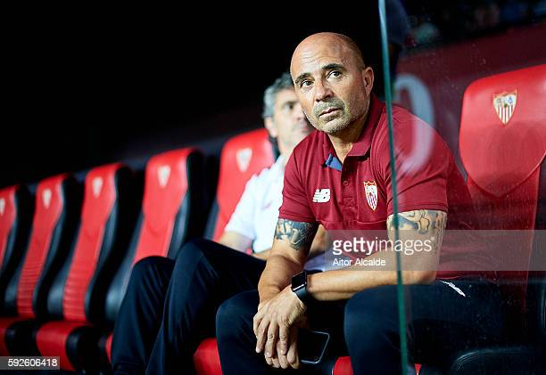 Head Coach of Sevilla FC Jorge Sampaoli looks on during the match between Sevilla FC vs RCD Espanyol as part of La Liga at Estadio Ramon Sanchez...