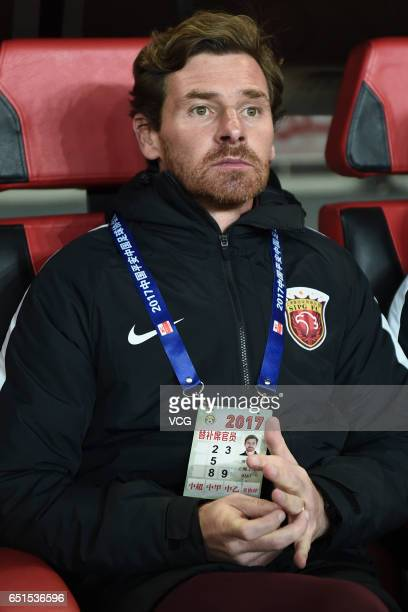 Head coach of Shanghai SIPG Andre Villas Boas looks on during the 2nd round match of Chinese Super League between Shanghai SIPG and Yanbian Fude FC...