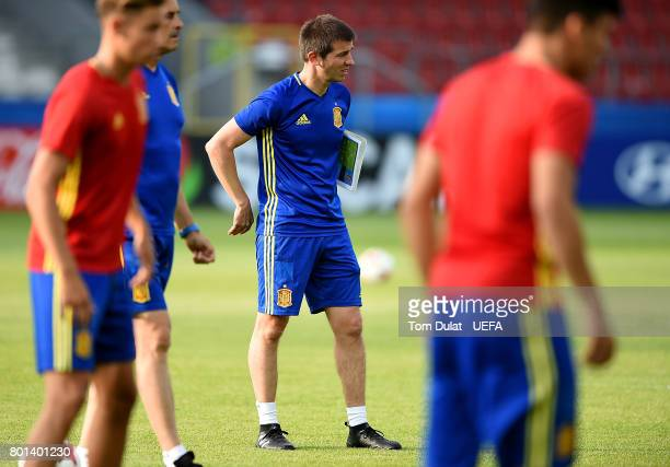 Head coach of Spain Albert Celades Lopez looks on during a training session on June 26 2017 in Krakow Poland