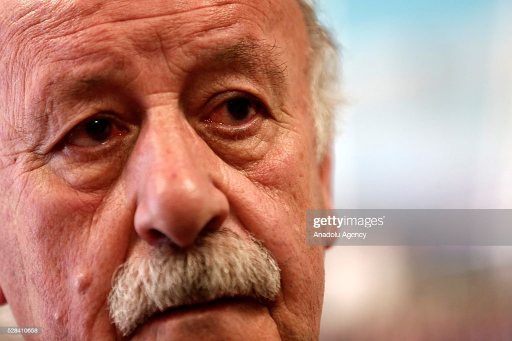 Head coach of Spain National Team, Vicente del Bosque makes a statement to the media at Spanish Football Federation office, in Madrid, Spain on May 5, 2016.