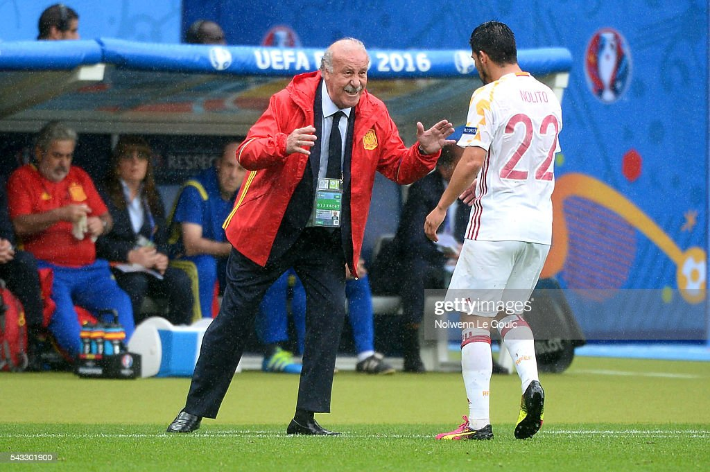 Head coach of Spain Vicente Del Bosque during the European Championship match Round of 16 between Italy and Spain at Stade de France on June 27, 2016 in Paris, France.