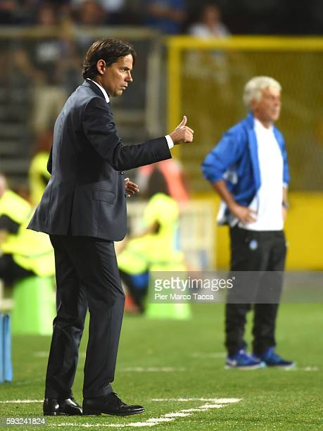Head Coach of SS Lazio Simone Inzaghi gestures during the Serie A match between Atalanta BC and SS Lazio at Stadio Atleti Azzurri d'Italia on August...