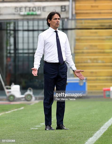 Head Coach of SS Lazio Simone Inzaghi looks during the Serie A match between Carpi FC and SS Lazio at Alberto Braglia Stadium on May 8 2016 in Modena...