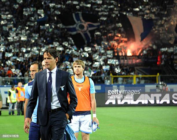 Head Coach of SS Lazio Simone Inzaghi looks during the Serie A match between Atalanta BC and SS Lazio at Stadio Atleti Azzurri d'Italia on August 21...