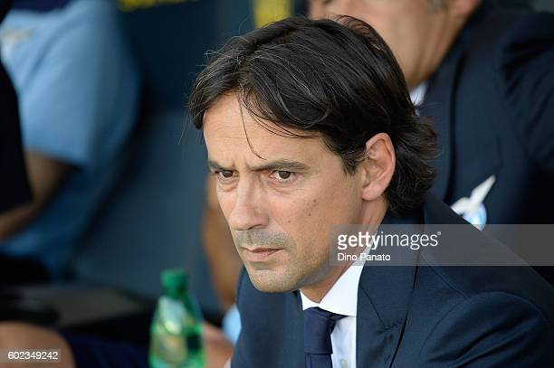 Head coach of SS Lazio Simone Inzaghi looks on during the Serie A match between AC ChievoVerona and SS Lazio at Stadio Marc'Antonio Bentegodi on...