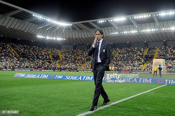 Head coach of SS Lazio Simone Inzaghi looks on during the Serie A match between Udinese Calcio and SS Lazio at Stadio Friuli on October 1 2016 in...