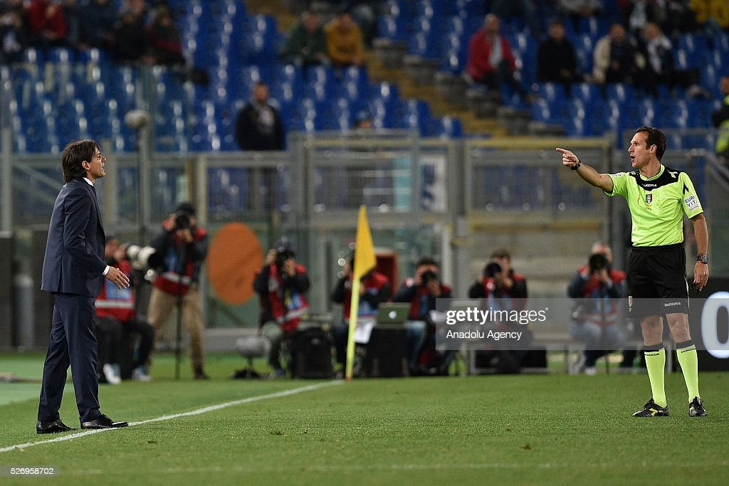 Head coach of SS Lazio Simone Inzaghi reacts during the Serie A match between SS Lazio and FC Internazionale Milano at Stadio Olimpico on May 1, 2016 in Rome, Italy.