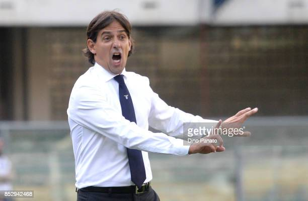 Head coach of SS Lazio Simone Inzaghi reacts during the Serie A match between Hellas Verona FC and SS Lazio at Stadio Marc'Antonio Bentegodi on...