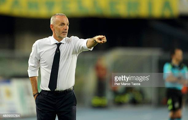 Head coach of SS Lazio Stefano Pioli looks during the Serie A match between AC Chievo Verona and SS Lazio at Stadio Marc'Antonio Bentegodi on August...