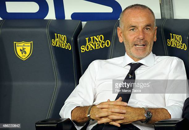 Head coach of SS Lazio Stefano Pioli looks during warm up before the Serie A match between AC Chievo Verona and SS Lazio at Stadio Marc'Antonio...