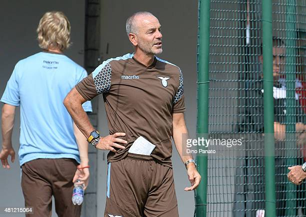 Head coach of SS Lazio Stefano Pioli looks on during the preseason friendly match between SS Lazio and Vicenza Calcio on July 18 2015 in Auronzo near...