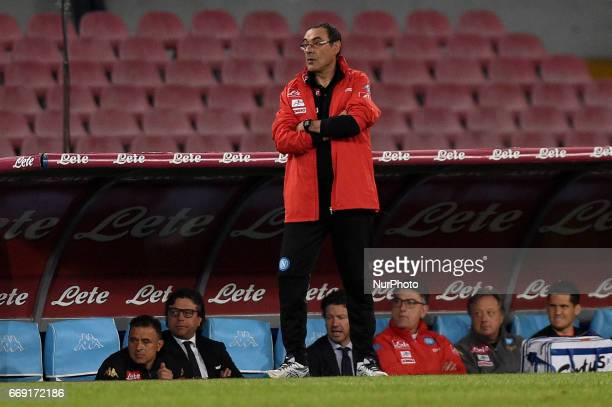Head coach of SSC Napoli Maurizio Sarri during the Serie A TIM match between SSC Napoli and Udinese Calcio at Stadio San Paolo Naples Italy on 15...