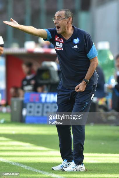 head coach of SSC Napoli Maurizio Sarri during the Serie A TIM match between SSC Napoli and Benevento Calcio at Stadio San Paolo Naples Italy on 17...