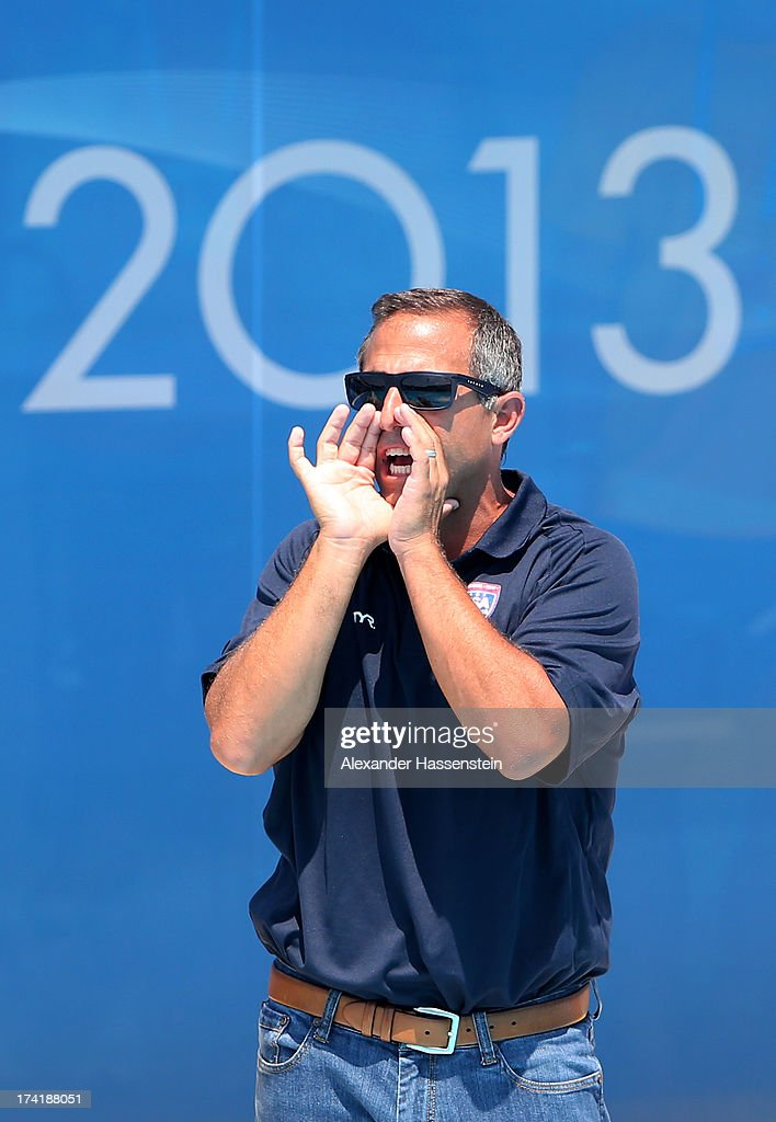 Head Coach of Team USA Adam Krikorian yells to his players during the Women's Water Polo first preliminary round match between USA and Greece during Day Two of the 15th FINA World Championships at Piscines Bernat Picornell on July 21, 2013 in Barcelona, Spain.