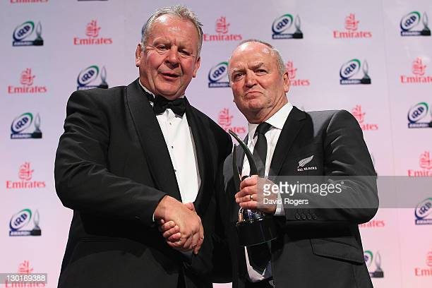 Head coach of the All Blacks Graham Henry receives the IRB Coach of the Year Award from IRB vice chairman Bill Beaumont during the 2011 IRB Awards...