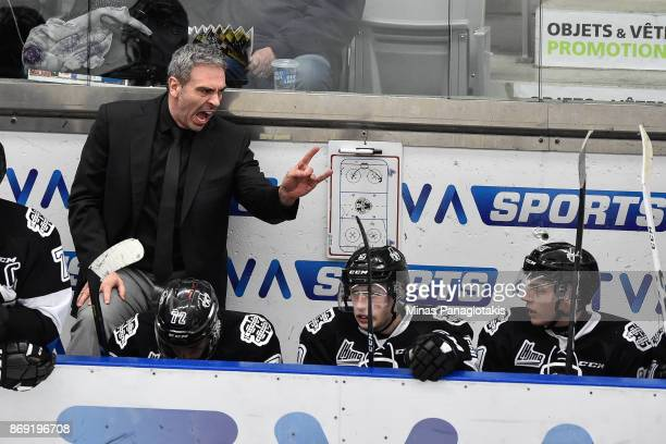Head coach of the BlainvilleBoisbriand Armada Joel Bouchard calls out instructions to his team against the Drummondville Voltigeurs during the QMJHL...