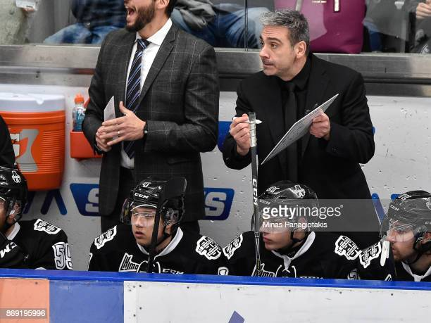 Head coach of the BlainvilleBoisbriand Armada Joel Bouchard gives out instructions to his team against the Drummondville Voltigeurs during the QMJHL...