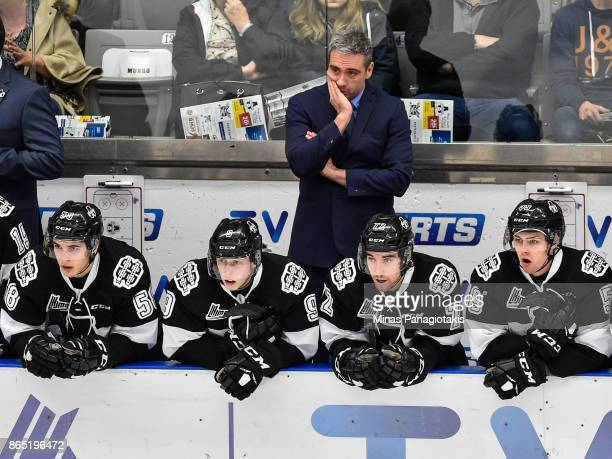 Head coach of the BlainvilleBoisbriand Armada Joel Bouchard looks on against the Halifax Mooseheads during the QMJHL game at Centre d'Excellence...