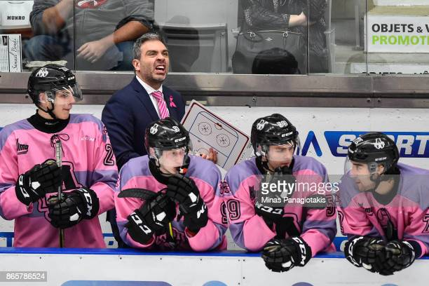 Head coach of the BlainvilleBoisbriand Armada Joel Bouchard reacts against the Quebec Remparts during the QMJHL game at Centre d'Excellence Sports...